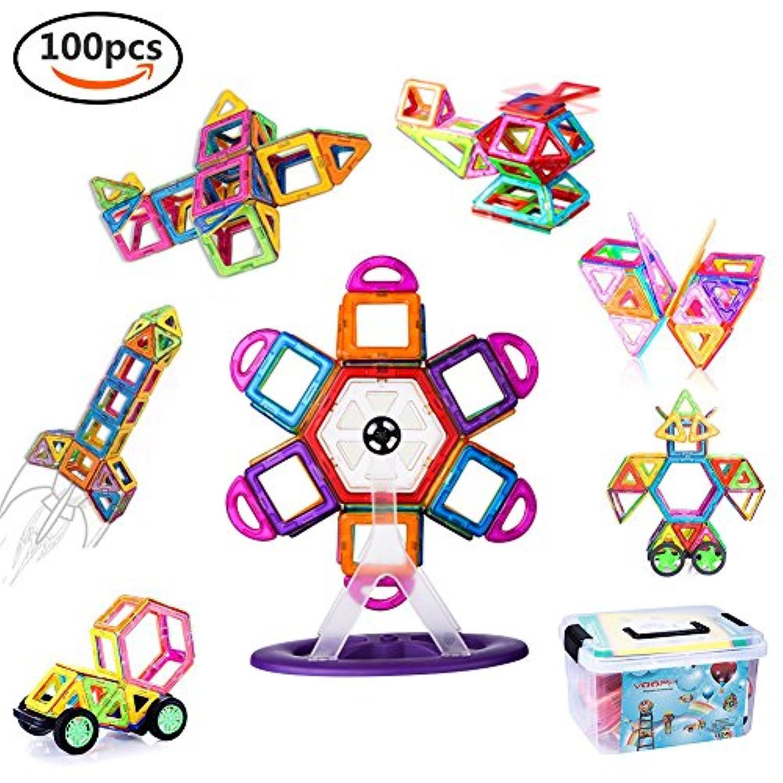 VOOPH マグネットブロック おもちゃ 磁気おもちゃ 磁石ブロック ピタゴラスおもちゃ 男の子 女の子 子ども ぶろっく オモチャ 子供 立体パズル 組み立て 幼児 オモチャ 積み木 DIY 知育玩具 学習玩具 図形 ビルディング積み木 磁気構造 想像力と創造力を育てる クリスマスプレゼント 贈り物 誕生日プレゼント 創意プレゼント 出産祝い ギフト 入園 プレゼント 親子ゲーム 保育園 幼稚園 立体遊び教具 アルファベット 数字カード 車輪 六角形 正方形 三角形 台形 観覧車付き 収納ケース付き (100pcs)
