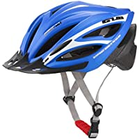 ヘルメットロードマウンテンバイク防護服サイクリングサイクリングインテグラル形帽子男性と女性の照明器具スポーツ用安全ヘルメット (色 : 青)
