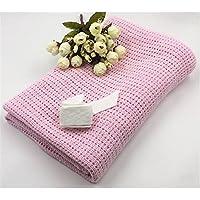 wddhソフトベビーNurseryコットン幼児用毛布、コットンモスリン通気性Air Conditioning Cool毛布ソファ用贈り物、夏シンキルト軽量for Toddler 75 * 100cm ピンク Y1417EY0HHVW16H9F2