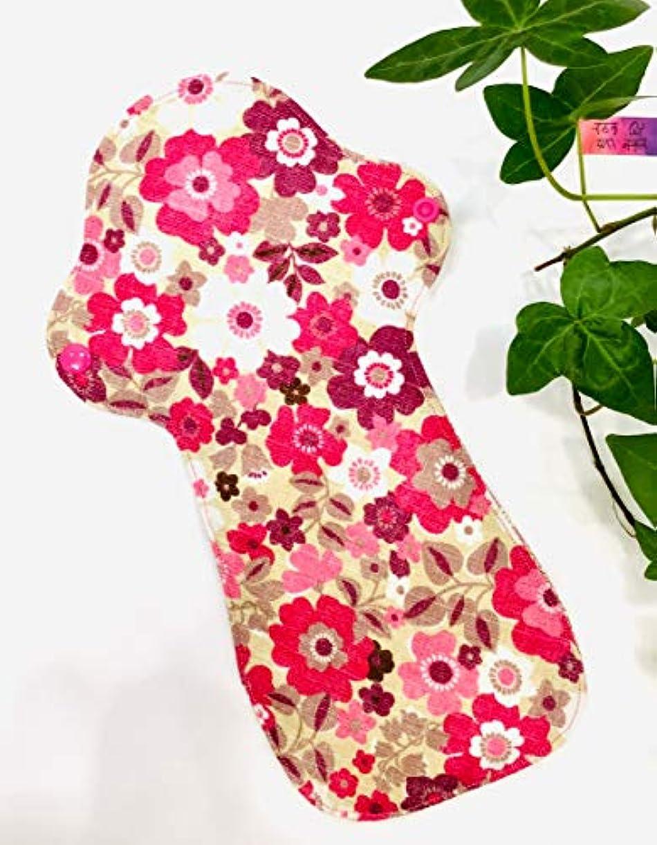マイコン区別するスポークスマン【防水 布ナプキン】 多い日 夜用 Lサイズ ピンク 両面 ボタニカルフラワー柄