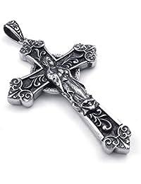 [テメゴ ジュエリー]TEMEGO Jewelry メンズステンレススチール製のヴィンテージゴシック鋳物クロス聖母マリアペンダントネックレス、ブラックシルバー[インポート]