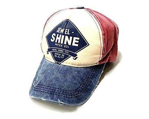 In Cristallo(インクリスターロ) JEWEL SHINE ヴィンテージ風 ベースボールキャップ ロゴプリント 野球帽 ダメージ・汚れ加工済み アメリカン カジュアル 帽子 ファッション小物・雑貨 メンズ 多バリエーション (JEWELSHINE ボルドー×ネイビー)