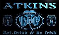 ネオンプレート サイン 電飾 看板 カフェ バー pa1500-b ATKINS Irish Shamrock Home Pub Bar Beer Neon Light Sign