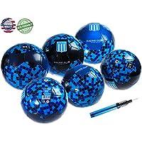 6サッカーボールとポンプ、ブルー、サイズ5