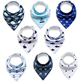 Baby Bandana Drool Bibs,Baby Dribble Bibs with Snaps 8 Pack Baby Shower Gift Set for Teething and Drooling,100% Organic Cotton,Soft and Absorbent,Feeding Bibs for Newborns Boys Infants Toddlers