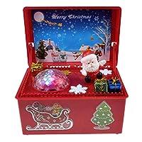 Konrev クリスマス オルゴール 木製 LEDライト付き 電池式 音楽ボックス インテリア 癒しグッズ かわいい 雰囲気 小型 プレゼント 誕生日 おしゃれ