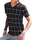 ジョーカーセレクト(JOKER Select) Tシャツ メンズ 半袖Tシャツ Vネック ボーダー ウィンドペン チェック カットソー M ブラック/ホワイト(チェック)