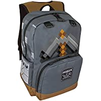 JINX Minecraft Pickaxe Adventure Kids School Backpack, Dark Grey, 17""