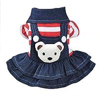 liqiuxiang ペットドレス 子犬 服 かわいい 漫画のクマスリングボタン型の暖かいペットデニムスカート 2色の5色で利用できる 子犬 服 女の子 小型犬 服防寒 小型犬 秋冬用