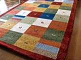 WOOL100%全厚20mm(レッドチェック) インド手織りギャッベ 200×250 約 3畳 ラグマット ウール 北欧 夏 カーペット 絨毯 おしゃれ ギャベ ギャッベ ラグ マット ♯2(smtb-td)