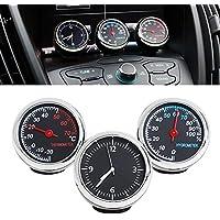 車内用 温度計/湿度計/時計 3連メーター[並行輸入] ドレスアップ 配線不要タイプ 小型軽量 簡単設置 カーアクセサリ 超実用 可愛いデザイン
