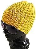 (アーケード) ARCADE コットン100% オールシーズン リブ編みニット帽 折り返し ニットキャップ ワッチキャップ マスタード