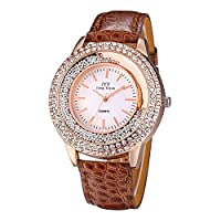 Tiandao ウォッチ 腕時計 女性 レディース シンプル 革バンド 防水 時計 おしゃれ レディースウォッチ (色 : 褐色)