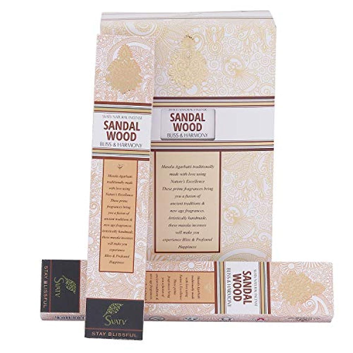 数倫理的毒液SVATV Sandalwood :: Hand Rolled Masala Incense Stick Made in India 15g Pack Of 2