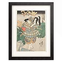 歌川 国貞 Utagawa Kunisada 「Ichikawa Ebizo V (former Danjuro VII) as Entomusha Morito Kesa Gozen's Head. Um 1833」 額装アート作品