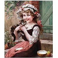 かわいい女の子と猫ダイヤモンド絵画家の装飾のための番号キット、キャラクターDiy 5Dクリスタルラインストーン刺繍写真芸術、フルDril、40x50cm