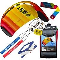 HQ Symphony Beach III 1.3 Kite Mango +テールバンドル( 4 Items ) + 20 ftレインボープラスチックKite Tail Streamer + WindBone Kiteboardingライフスタイルステッカー