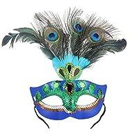 Pawaca 仮面舞踏会マスク ピーコックフェザー 羽飾り コスチューム ダンス衣装 ハロウィーンの仮面 パーティー用品 コスプレ レデイー