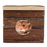 AWHAO 小動物 おもちゃ ハムスター用品 遊び道具 運動不足解消 ( 木製 隠れ家ボックス )チンチラ用巣箱 ペット用ハウス