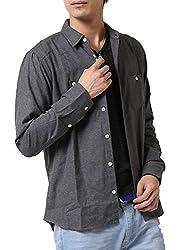 (アーケード) ARCADE ネルシャツ メンズ ボタンダウン チェックシャツ レギュラーカラー 秋 冬 無地 ストライプ
