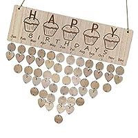 Fenteer 誕生日ボード 木製アラームカレンダー 誕生日 記念日 お祝いパーティー装飾 多仕様選べ - 3