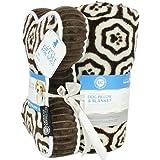 AKC Paw Print Pet Blanket & Pillow Gift Set, 2 PC, Brown