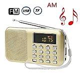 USB充電式 AM/FM 多機能 超薄型ミニポケットラジオ Micro SD/TFカードに対応 LEDライト付き (金色)