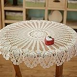 クラシカル テーブルクロス テーブルカバー インテリア 装飾 手編み シースルーの花柄レース ベージュ 円型 直径90cm
