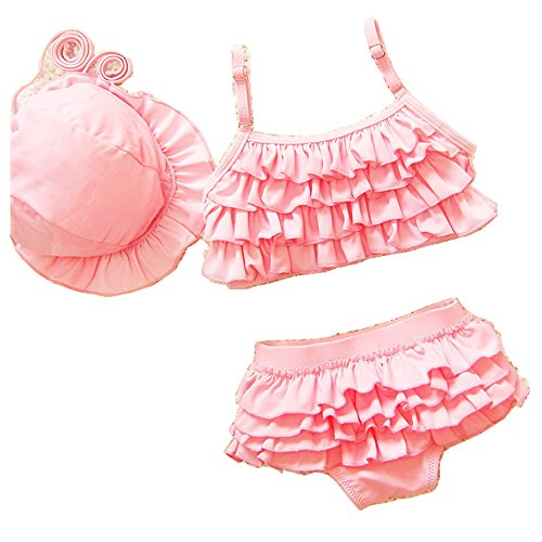 Jocolateガールズ水着子供女の子水着キッズビキニセパレート3点セット帽子(125-140cm,ピンク)