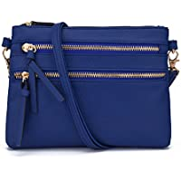 JIARUO Functional Mini Multi Zipper Pocket Small Women PU Leather Crossbody Bag Purses