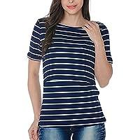 Inlfen Nursing Top Short Sleeve Maternity Clothes Breastfeeding Tops