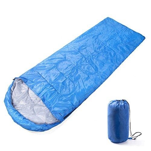 FSDUALWIN 寝袋 シュラフ コンパクト 軽量 封筒型 折りたたみ式 簡単収納 快適使用温度5~15度 耐寒 収納袋付き アウトドア/登山/車中泊/防災/緊急用に グリーン ブル— (ブルー)