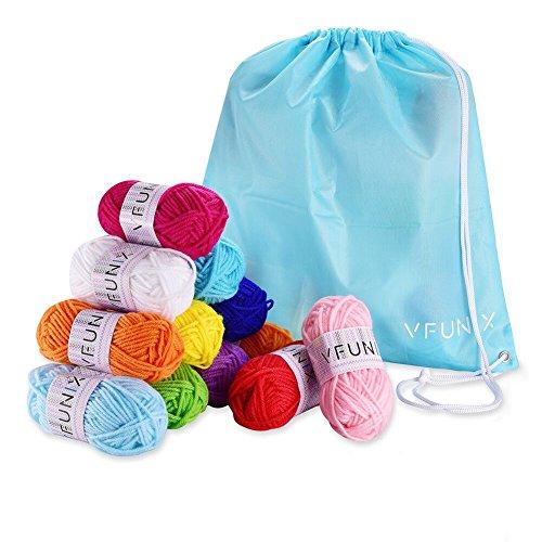 Vfunix 100%アクリル 毛糸 鮮やかな12色 セット 収納バッグ付き 15g玉巻 (約31m)