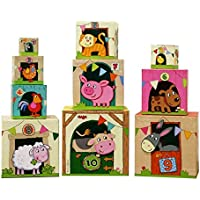 HABA On the Farm Stacking Cubes [並行輸入品]