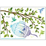 ウォールステッカー 木 鳥 鳥かご おしゃれ 壁紙シール ウォールシール はがせる DIY 壁紙 シール