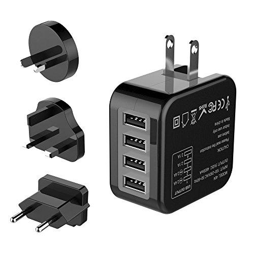 海外旅行用充電器 変換プラグ USB充電器 ACアダプター 4ポート折畳式チャージャー 多機能充電器 150カ国以上通用(米国 EU 英国 AU) iPhone,Android各種対応 (ブラック)