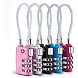TSA Luggage Locks,TSA Approved Cable Luggage Locks Re-settable Combination with Alloy Body (Black&Red&Pink&Silver&Blue)