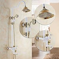 シャワーキット ヨーロッパスタイルすべての青銅の蛇口ラウンドビッグトップスプレー多機能ハンドシャワーホワイトプラスゴールドシャワーセット
