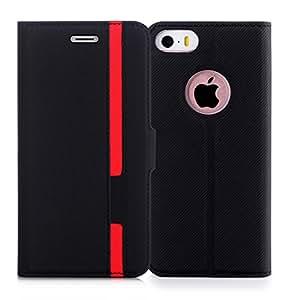 iPhone5S ケース iPhone SE ケース iPhone5 ケース,Fyy ハンドメイド 高級PUレザー ケース 手帳型 保護ケース カードポケット付き 横置きスタンド機能付き マグネット式 スマホケース スマートフォンケース iPhone SE/5S/5 対応
