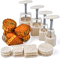 Hleeduo? Mid-Autumn Festival Hand-Pressure Moon Cake Mould With 12 Pcs Mode Pattern For 4 Sets by SOGNIMIEI