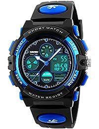 子供 腕時計 スポーツ 防水 小学生 腕時計 デジタル アナログ 男の子 キッズ 目覚まし時計 おしゃれ プレゼント かっこいい ミミコウ (ブルー)