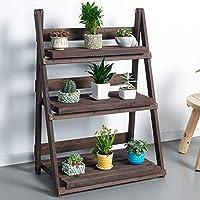 TYUIO 3層折りたたみ木製植物スタンドウッドオーガナイザーフラワーポットスタンド植物ディスプレイ棚ラック梯子庭屋内屋外70×39×96センチ (色 : Brown)