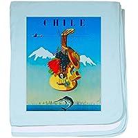 CafePress – チリ旅行ポスター1 – スーパーソフトベビー毛布、新生児おくるみ ブルー 066706594125CD2