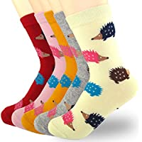 XSBQBC Women's Cute Cartoon Animal Casual Cotton Crew Socks Pack of 5