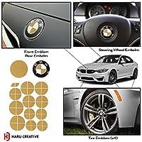 Haruクリエイティブ–BMWエンブレムキャップオーバーレイビニールデカールステッカーforフードトランクホイールフェンダー–マットシリーズ DC-BMW-MT-GLD