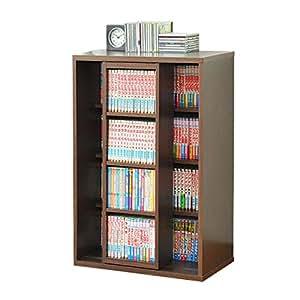 本棚 スライド書棚 スリム シングル スライド式本棚 木製 本棚 ブックシェルフ ラック コミック 文庫 収納 幅60cm (ブラウン)