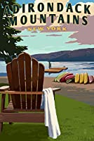 Adirondack、ニューヨーク–アディロンダック椅子山と湖 16 x 24 Signed Art Print LANT-53047-709