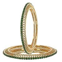 RATNAVALI JEWELS CZ Zirconia Gold Tone Green Diamond Bollywood Indian Bangles Bracelet Jewelry Women