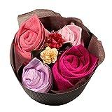 【ギフト プレゼント 薔薇 】 両面ガーゼ織 ローズ フラワー タオルセット(4枚組) 【 誕生日 お祝い 引き出物 】