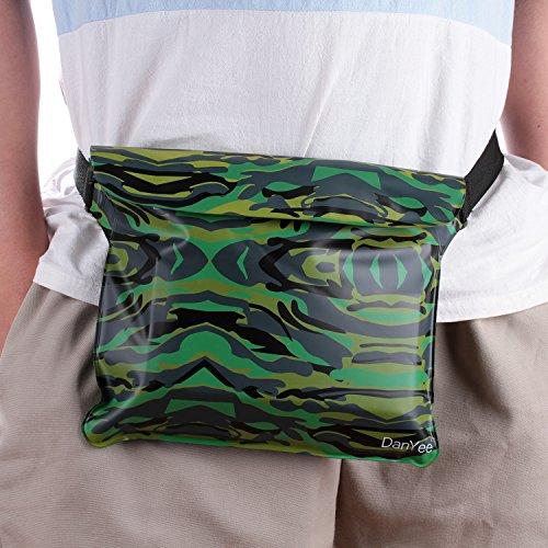 Danyee® 安心交換保証付 防水ポーチ (全5色) 3重チャック PVC素材 (ブルー) 海水浴 プール 釣り バイク ウエストバッグ 防水パック 防水 携帯 (迷彩Green)